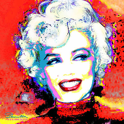 Marilyn Monroe Digital Art - Mmother Of Pearl Red 1 by Theo Danella
