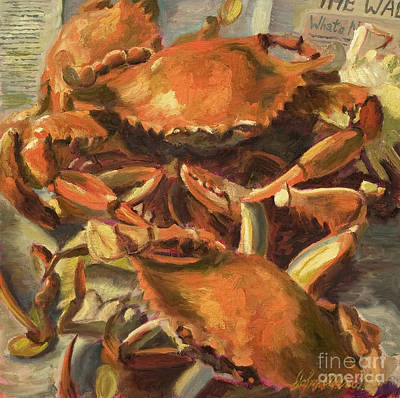 Lowcountry Painting - Mo Crabs by John Albrecht