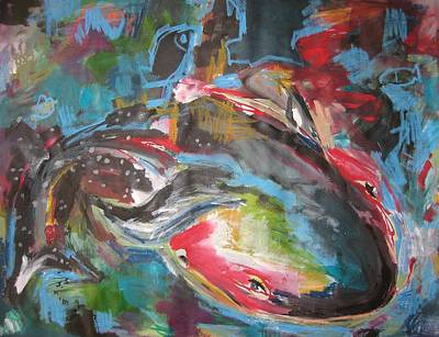 Mobie Joe The Whale-original Abstract Whale Painting Acrylic Blue Red Green Print by Seon-Jeong Kim