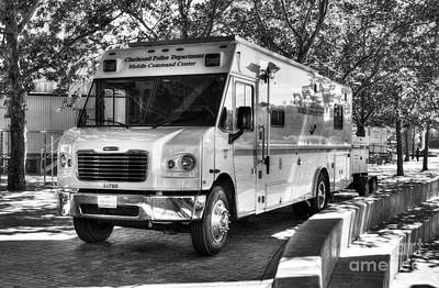 Mobile Command Center Bw Print by Mel Steinhauer