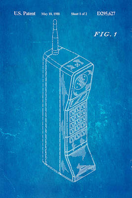 Mobile Phone Patent Art 1988 Blueprint Print by Ian Monk