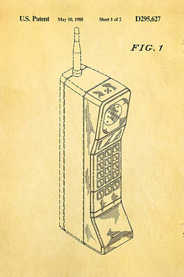 Mobile Phone Patent Art 1988 Print by Ian Monk