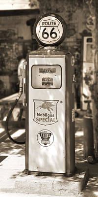 Gas Station Photograph - Mobilgas Special - Tokheim Pump  - Sepia by Mike McGlothlen