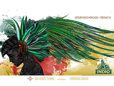 Calendars Mixed Media - Moctezuma Aztec Ruler by Arturo Rios Mercado