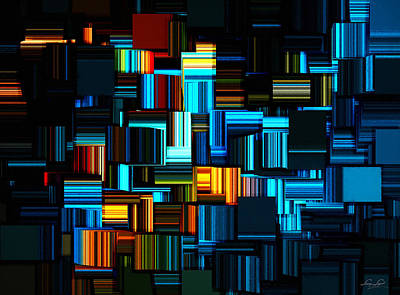 Rectangles Digital Art - Modern Abstract V by Lourry Legarde