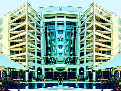 Financial Mixed Media - Modern Building From Photos Color Sketch 01 by Nenad Cerovic