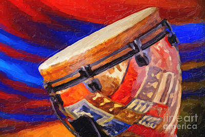 Congas Painting - Modern Djembe African Drum Painting In Color 3337.02 by M K  Miller