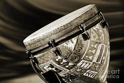 Congas Photograph - Modern Djembe African Drum Photograph In Sepia 3336.01 by M K  Miller