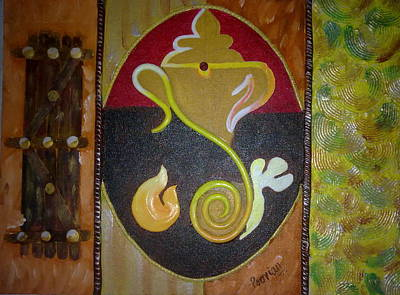 Plaster Of Paris Painting - Mixed Media Ganesha by Poornima Ravi