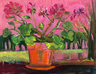 Integrated Painting - Modern Geranium In Pot On Deck Rail by Betty Pieper
