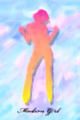 Modern Girl In Abstract Oil Original by Toppart Sweden