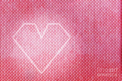 Card Photograph - Modern Heart Shape Design On A Red Material by Michal Bednarek