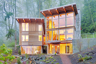 Modern Home In Woods Print by Will Austin