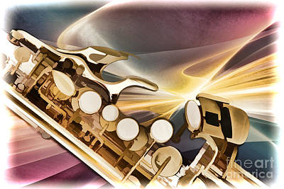 Jazz Painting - Modern Soprano Saxophone Painting In Color 3345.02 by M K  Miller