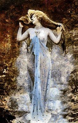 Modern Vintage Lady In Blue Print by Georgiana Romanovna