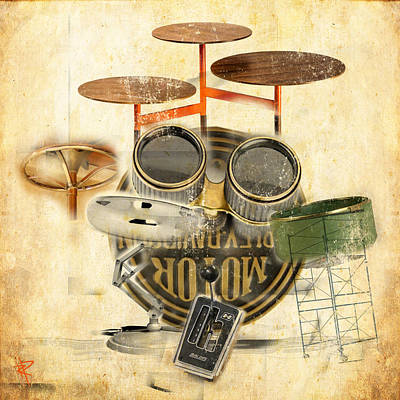 Bass Drum Mixed Media - Modernist Percussion by Russell Pierce