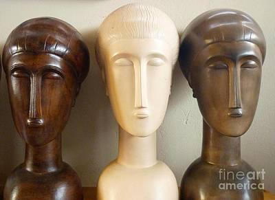 Modigliani Style Ceramic Heads Print by Susanna Baez
