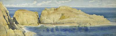 On Paper Painting - Moie De La Breniere Rocks Sark by Henry Ryland