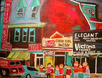 The Main Montreal Painting - Moishe's Steak House 1960's Montreal Memories by Michael Litvack