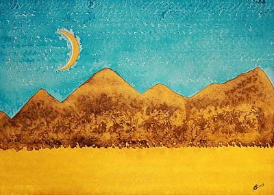 Mojave Moonrise Original Painting Print by Sol Luckman