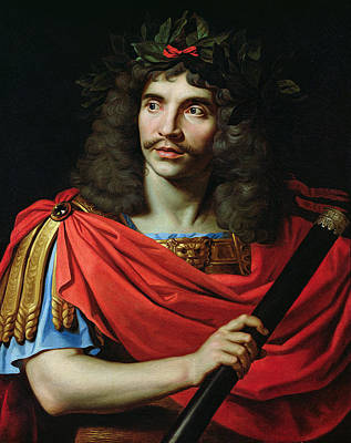 Moliere In The Role Of Caesar In The Death Of Pompey Oil On Canvas Print by Nicolas Mignard