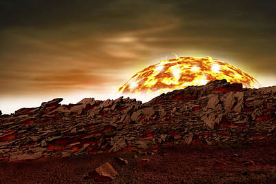 Exoplanet Mixed Media - Molten Sunrise by Marc Ward