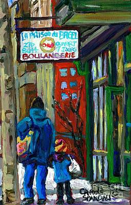 Montreal Winter Scenes Painting - Mom And Tot Winter Walk For Bagels Montreal Paintings Canadian Art Snowscenes Carole Spandau by Carole Spandau