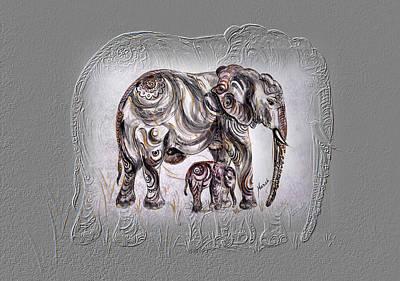 Mom Elephant Original by Harsh Malik