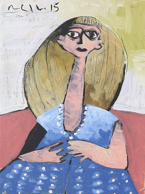 Outsider Painting - Momentis Lucy In A Blue Dress  by Mark M  Mellon