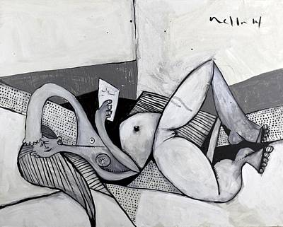 Reclining Woman Painting - Momentis  The Note Amused by Mark M  Mellon