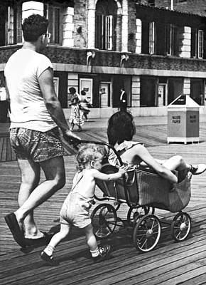 Stroller Photograph - Mom's Turn For Ride by Underwood Archives