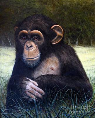 Chimpanzee Painting - Mona Chimp by Joey Nash
