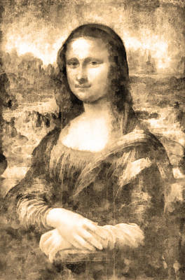 Louvre Drawing - Mona Lisa by George Rossidis