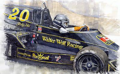 Wolf Watercolor Painting - Monaco 1976 Wolf Wiliams Fw05 Jacki Ickx by Yuriy Shevchuk