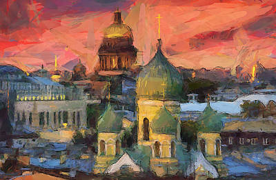 Moscow Digital Art - Monastery At Sunset by Yury Malkov