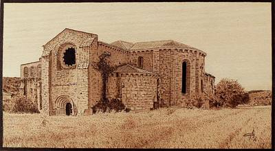 Pirogravura Pyrography - Monastery Of Monsalud by Juan Carlos Gonzalez