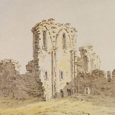 Caspar Painting - Monastery Ruins by Caspar David Friedrich