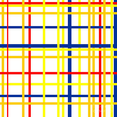 Fabric Digital Art - Mondrian Lines by Celestial Images