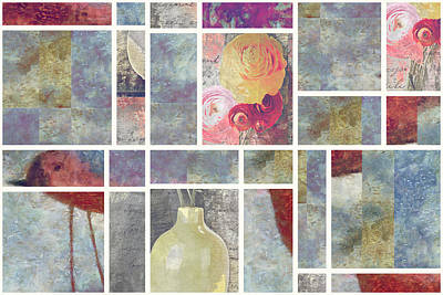 Floral Still Life Mixed Media - Mondrianity - 08a by Variance Collections