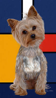 Small Dogs Painting - Mondrian's Yorkie by Enzie Shahmiri