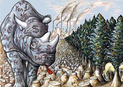 Rhinocerus Drawing - Money Against Nature - Cartoon by Art America Online Gallery