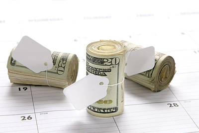 Money Rolls On Calendar Print by Joe Belanger