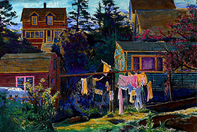 Laundry Painting - Monhegan Laundry by Cindy McIntyre
