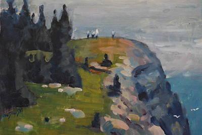 Maine Painting - Monhegan's Burnthead by Len Stomski
