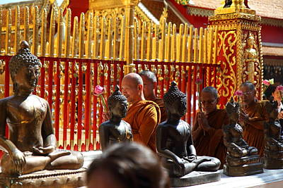 Monk Photograph - Monk Ceremony - Wat Phrathat Doi Suthep - Chiang Mai Thailand - 01134 by DC Photographer