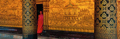 Interior Scene Photograph - Monk In Prayer Hall At Wat Mai Buddhist by Panoramic Images