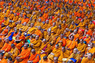 Monk Mass Alms Giving In Bangkok Print by Fototrav Print
