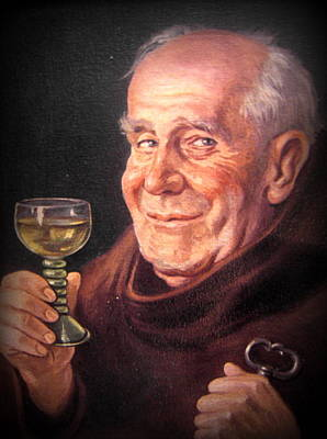 Monk With Wineglass And Key Print by The Creative Minds Art and Photography