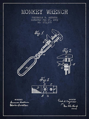 Monkey Drawing - Monkey Wrench Patent Drawing From 1883 by Aged Pixel