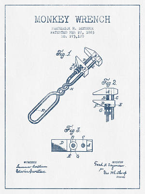Monkey Drawing - Monkey Wrench Patent Drawing From 1883- Blue Ink by Aged Pixel